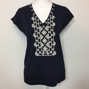 J Crew Navy White Embroidered Blouse Shirt 💚